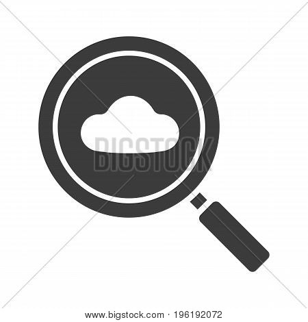 Cloud storage search glyph icon. Silhouette symbol. Magnifying glass with cloud. Negative space. Vector isolated illustration
