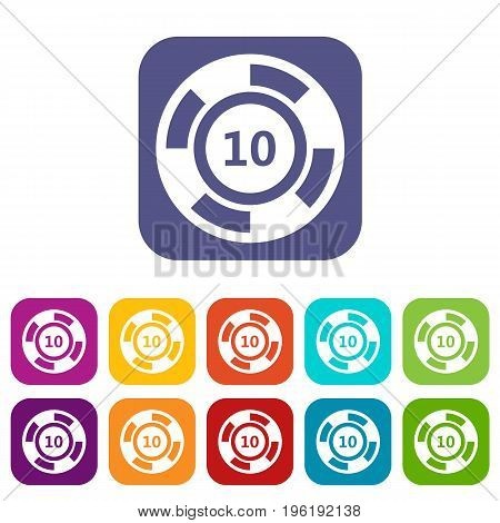 Casino chip icons set vector illustration in flat style in colors red, blue, green, and other
