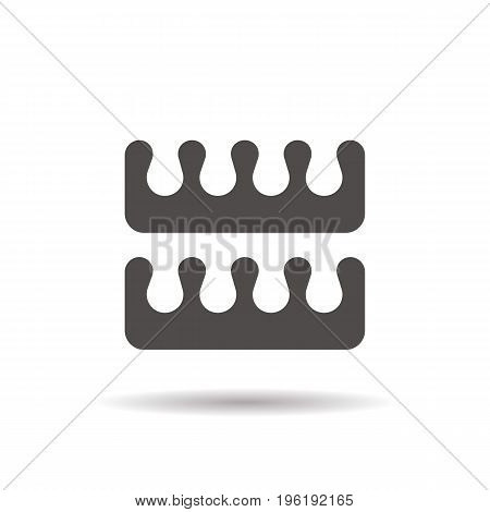 Pedicure toe separators glyph icon. Drop shadow silhouette symbol. Negative space. Vector isolated illustration