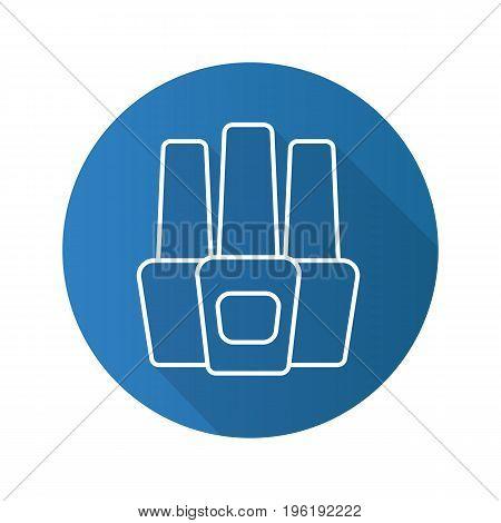 Nail polish bottles flat linear long shadow icon. Vector line symbol