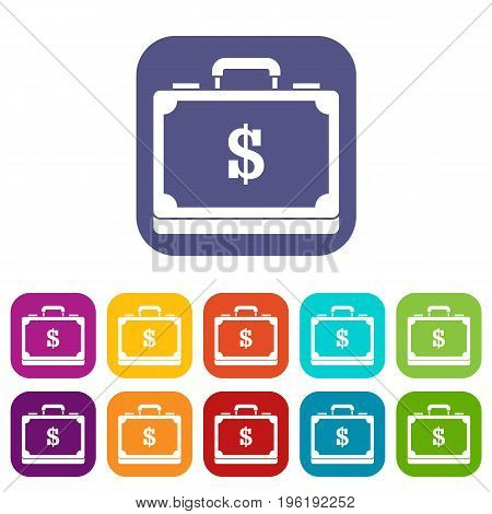 Briefcase full of money icons set vector illustration in flat style in colors red, blue, green, and other