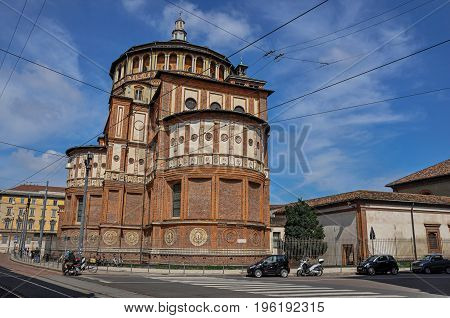 Milan, Italy - May 07, 2013. Street view and the back of the church of Santa Maria delle Grazie, in the city center of Milan, a large and modern city. Located in the Lombardy region, northern Italy