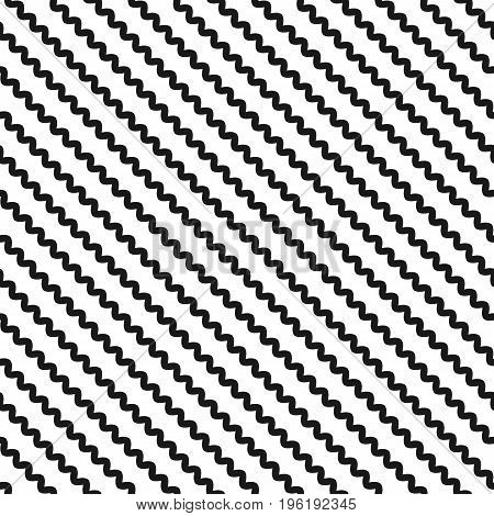 Diagonal wavy lines, seamless pattern. Vector abstract monochrome geometric striped background. Simple minimalist black & white zigzag texture, slanted waves. Design for decor, textile, cloth, carpet. Stripe pattern, line pattern, wavy pattern.
