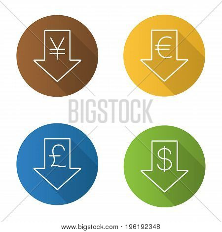 Currencies rate falling. Flat linear long shadow icons set. Dollar, yen, pound, euro signs with down arrows. Vector outline illustration
