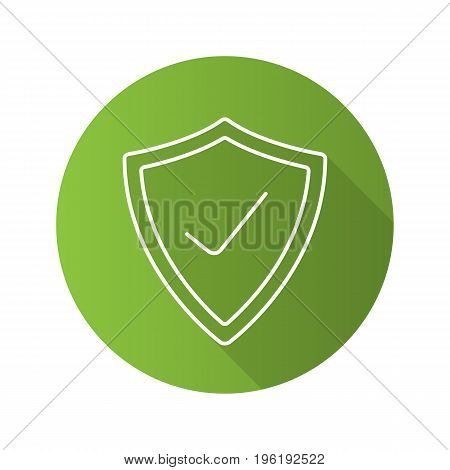 Security check flat linear long shadow icon. Protection shield with tick mark. Vector outline symbol