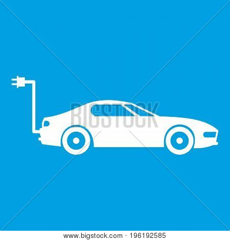 Electric car icon white isolated on blue background vector illustration