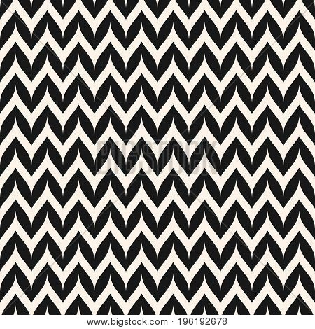 Seamless pattern. Zigzag pattern. Horizontal curved wavy zig zag lines. Simple stylish abstract geometric background. Black & white striped texture. Modern design for decor, fabric, furniture. Chevron pattern, herringbone pattern.