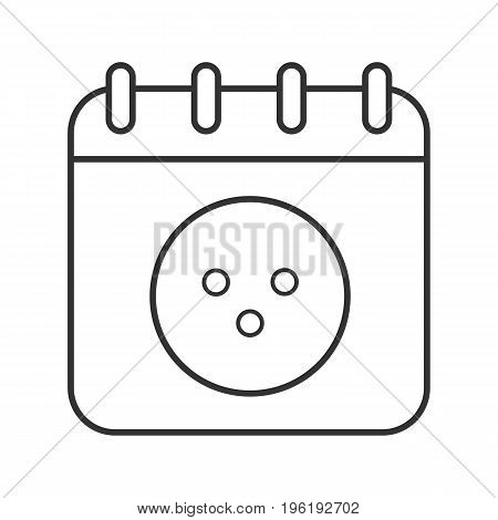 Bowling tournament date linear icon. Thin line illustration. Calendar page with bowling ball contour symbol. Vector isolated outline drawing