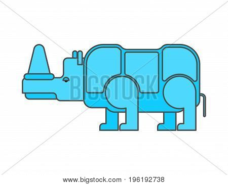 Rhinoceros Outline Style. Wild Beast  Linear Style. Animal Of Africa Isolated