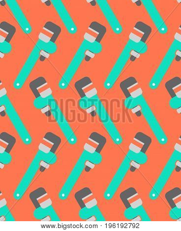 Adjustable Wrench Seamless Pattern. Tool Ornament. Industrial Background