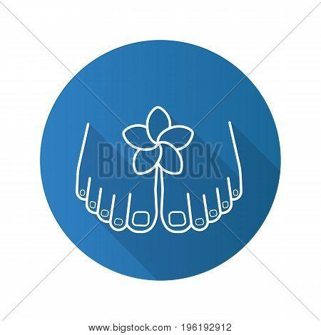 Feet care flat linear long shadow icon. Woman's feet with plumeria flower. Spa salon procedure. Vector outline symbol