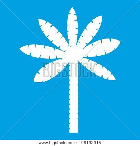 Palm tree icon white isolated on blue background vector illustration