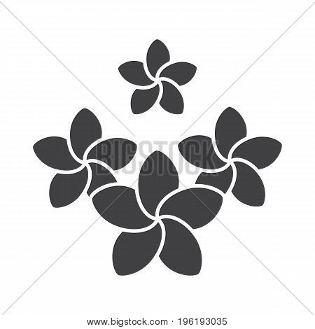 Spa salon plumeria flowers glyph icon. Silhouette symbol. Aromatherapy. Negative space. Vector isolated illustration
