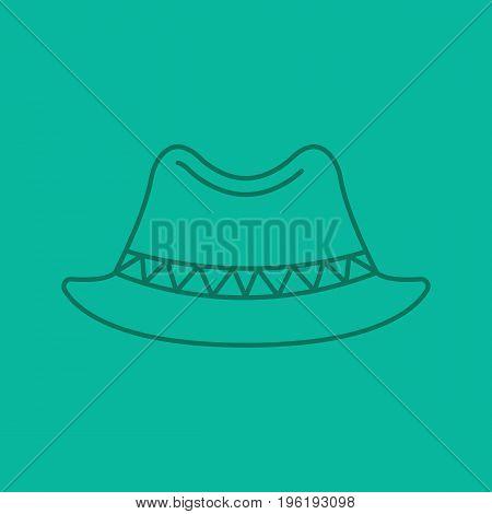 Homburg hat color linear icon. Classic men's hat. Thin line outline symbols on color background. Vector illustration