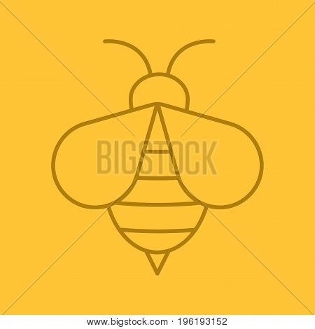 Honey bee color linear icon. Wasp. Apiary sign. Thin line outline symbols on color background. Vector illustration