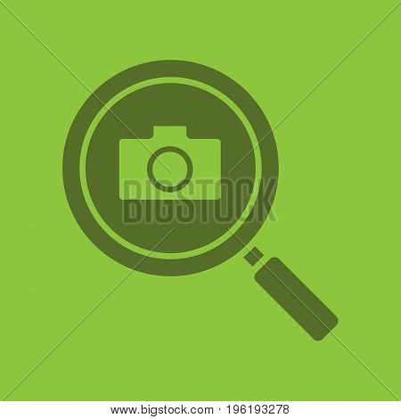 Image search glyph color icon. Silhouette symbol. Magnifying glass with photocamera. Negative space. Vector isolated illustration