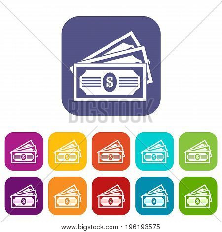 Three dollar bills icons set vector illustration in flat style in colors red, blue, green, and other