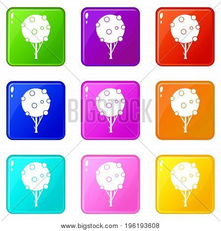 Tree with fruits icons of 9 color set isolated vector illustration