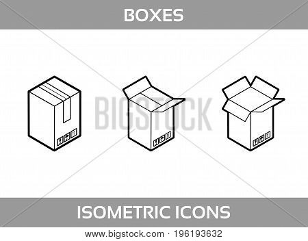 Isometric carton packaging boxes set in line art style with postal signs this side up fragile vector illustration