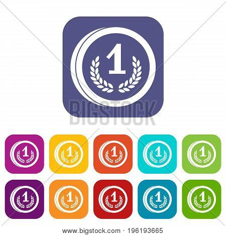 Coin icons set vector illustration in flat style in colors red, blue, green, and other
