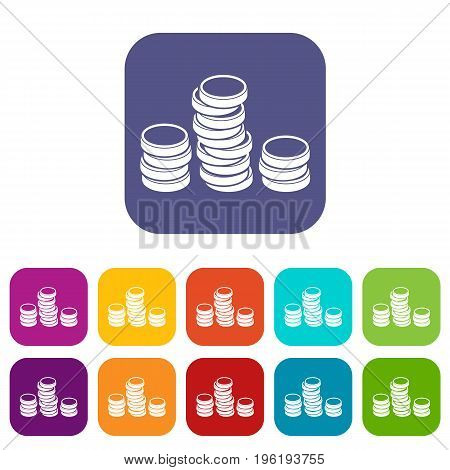 Gold coins icons set vector illustration in flat style in colors red, blue, green, and other