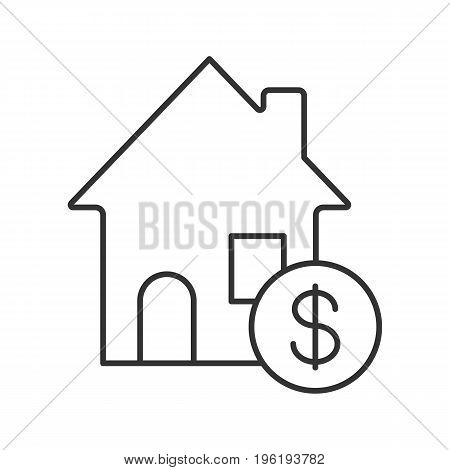 Real estate market linear icon. Thin line illustration. Rental house with dollar sign. Contour symbol. Vector isolated outline drawing