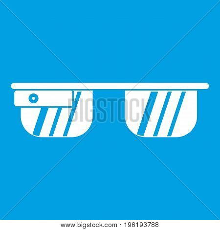 Smart glasses icon white isolated on blue background vector illustration