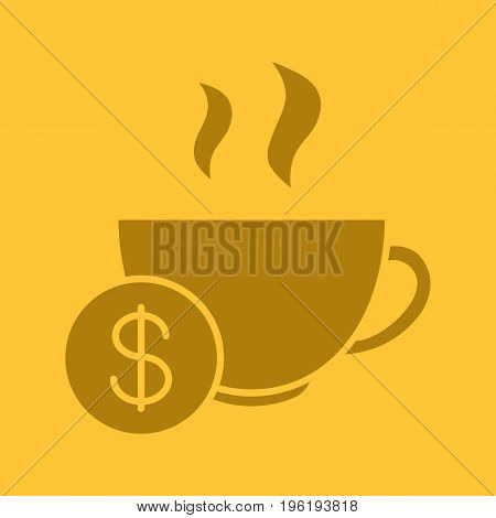 Buy cup of tea glyph color icon. Silhouette symbol. Hot steaming mug with dollar sign. Negative space. Vector isolated illustration
