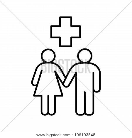 Family doctor linear icon. Thin line illustration. Family health care contour symbol. Vector isolated outline drawing