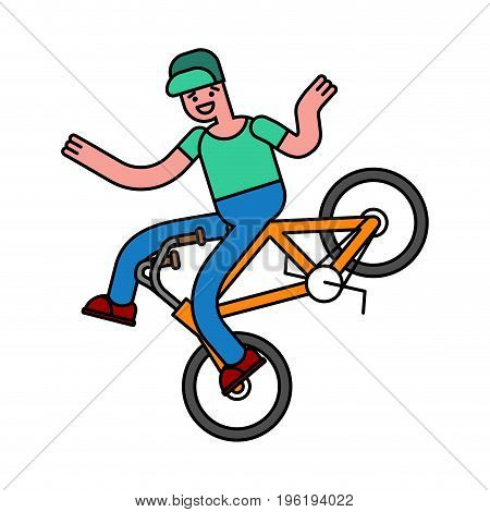 Tricks On Bicycle. Guy On Bike. Repent Of Bmx.