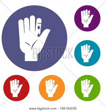 Finger with blood dripping icons set in flat circle red, blue and green color for web