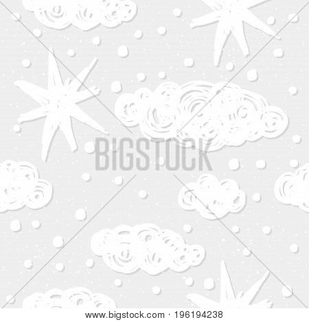 Doodle Cloud Seamless Pattern Background.
