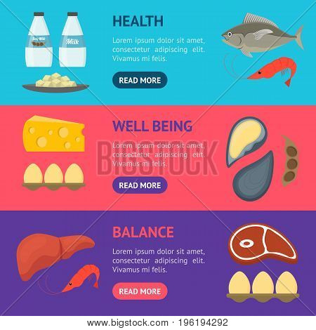Cartoon Food with Vitamin B12 Banner Horizontal Set. Concept Healthy Nutrition or Diet Flat Design Style. Vector illustration
