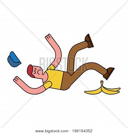 Fall On Banana. Slip On Banana Peel. Guy Flopped. Man Fell