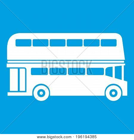 Double decker bus icon white isolated on blue background vector illustration