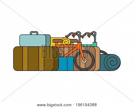 Things for weekend. Bicycles and suitcases. Camping Accessories