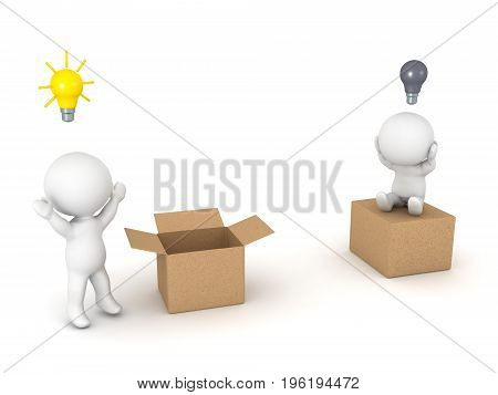 3D illustration depicting the concept of thinking outside the box and being closed minded. Isolated on white.