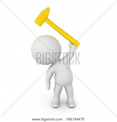 3D Character holding up a golden hammer. Isolated on white.