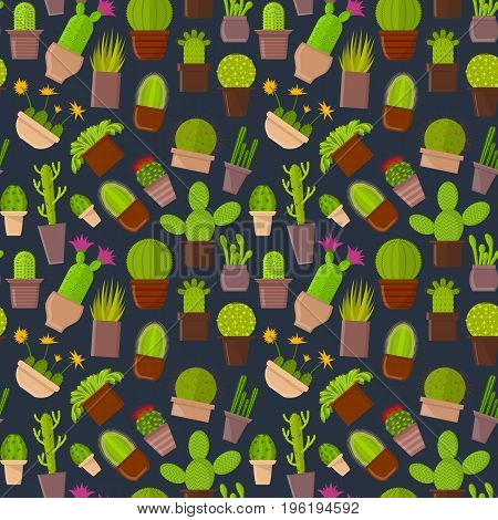 Cartoon Cactus Plant in Pots Background Pattern for Home or Office. Vector illustration