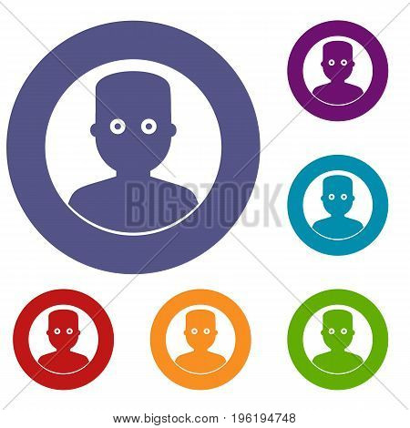 Man in the dark icons set in flat circle red, blue and green color for web