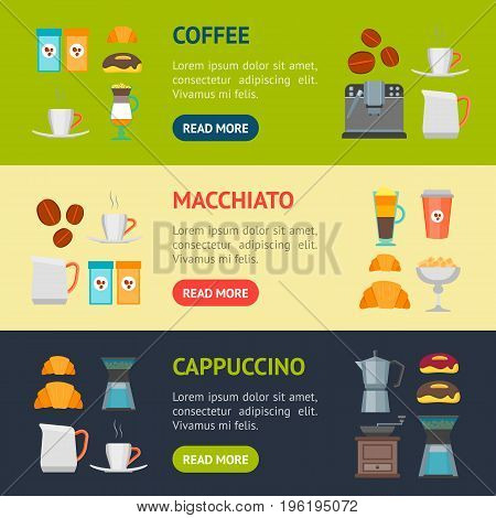 Coffee Shop Banner Horizontal Set Flat Design Style for Cafe, Restaurant and Bar. Vector illustration