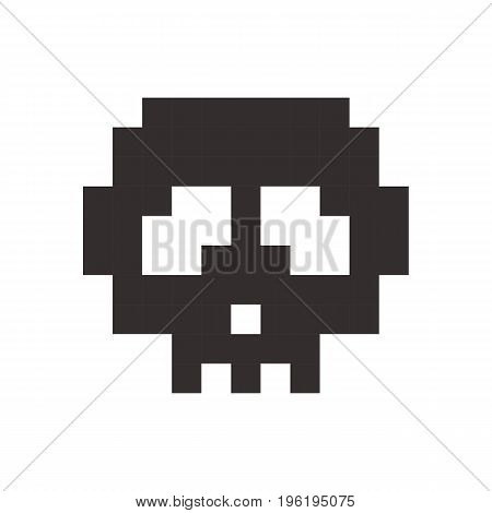 pixel skull pixel art cartoon retro game style set