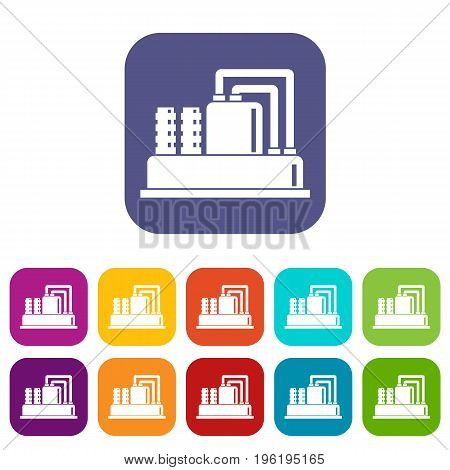 Equipment for production oil icons set vector illustration in flat style in colors red, blue, green, and other