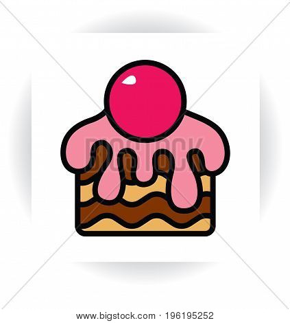 stylized template sign - piece of chocolate cake with cream or sugar glaze and cherry