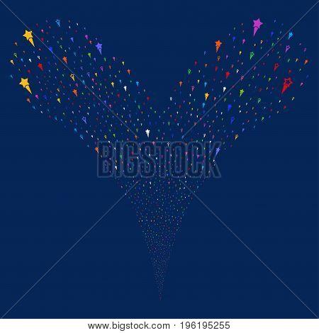 Confetti Stars salute stream. Vector illustration style is flat bright multicolored iconic confetti stars symbols on a blue background. Object fountain organized from random design elements.