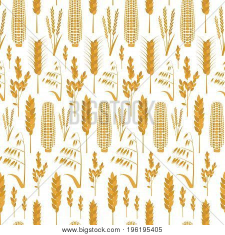 Cartoon Cereals Grain Background Pattern Agricultural Symbol Flat Design Style for Organic Eco Products. Vector illustration