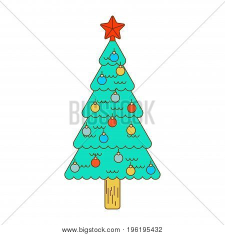 Christmas Tree Decorated With Balls Isolated Linear Style. Festive Spruce