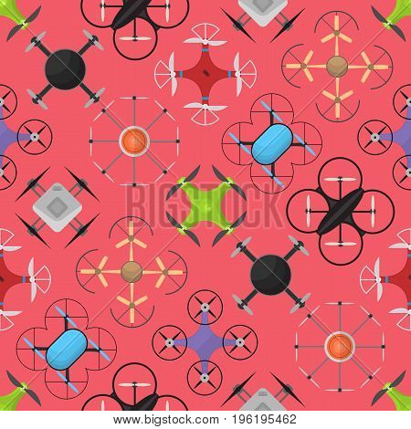 Air Drone Color Drone Background Pattern on a Red Innovation Technology Control Concept Flat Design Style. Vector illustration