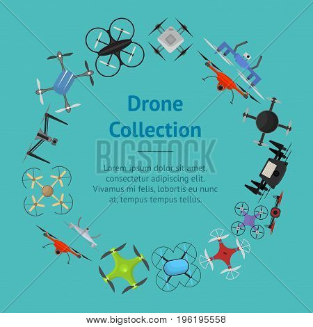 Air Drone Color Drone Banner Card Circle Innovation Technology Control Concept Flat Design Style. Vector illustration