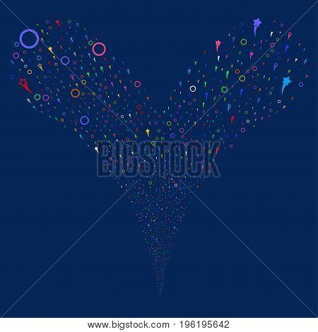 Confetti Stars fireworks stream. Vector illustration style is flat bright multicolored iconic confetti stars symbols on a blue background. Object fountain created from random symbols.